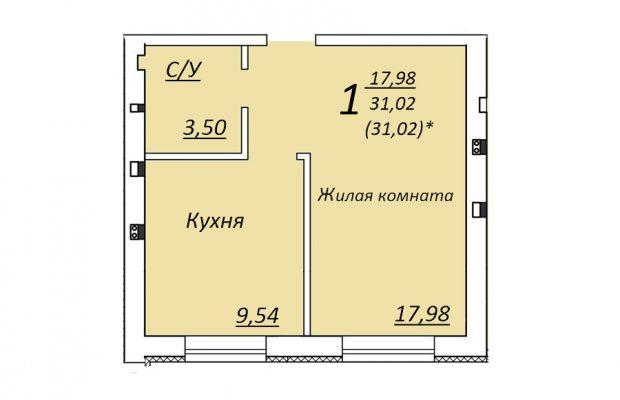 Однокомнатная квартира 31.02