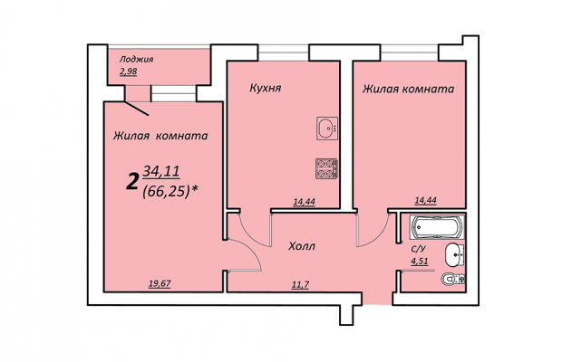 Двухкомнатная квартира 66.25