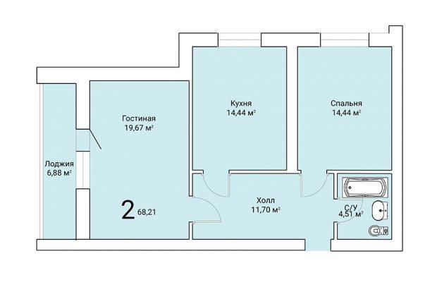 Двухкомнатная квартира 68.21