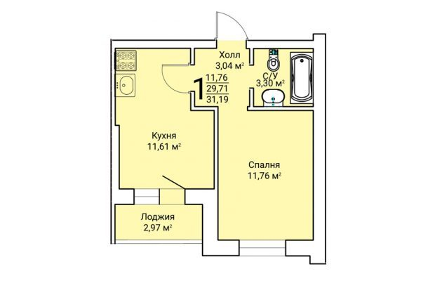 Однокомнатная квартира 31.19