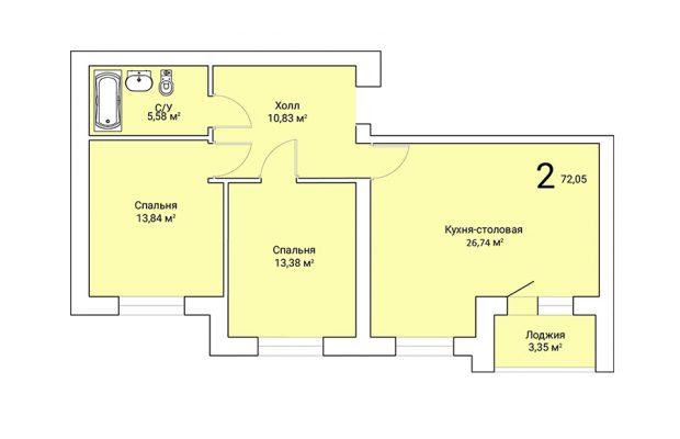 Двухкомнатная квартира 72.05