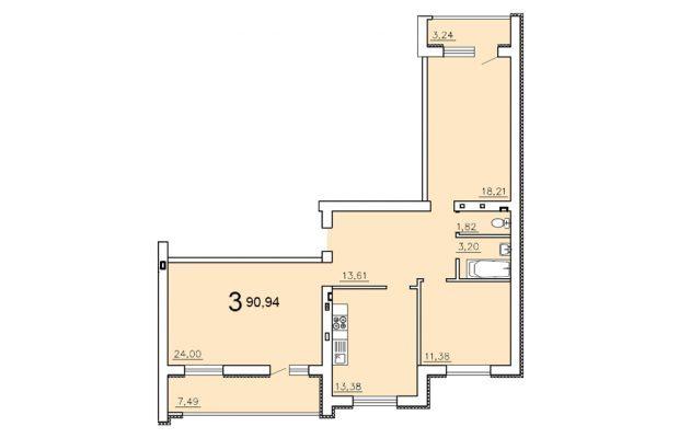 Трехкомнатная квартира 90.94
