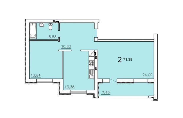 Двухкомнатная квартира 71.38