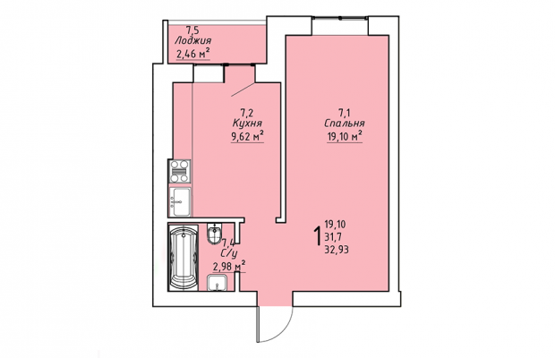 Однокомнатная квартира 32.93