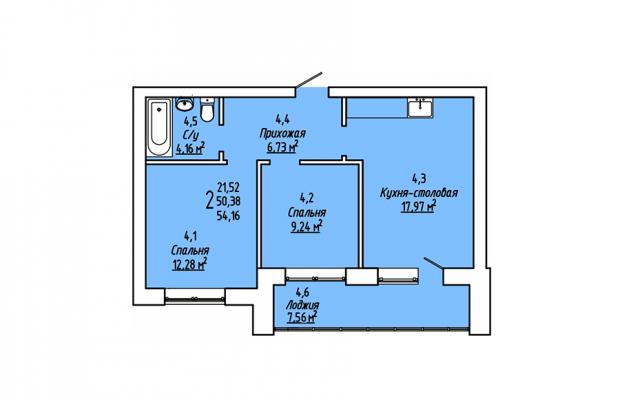 Двухкомнатная квартира 54.16