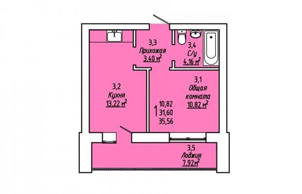 Однокомнатная квартира 35.56