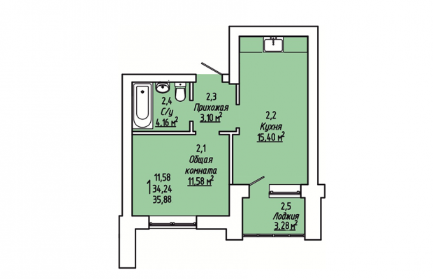 Однокомнатная квартира 35.88